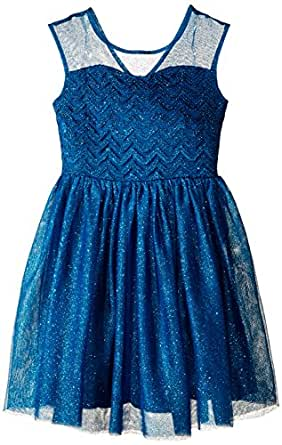 Speechless Big Girls' Illusion Yoke Ballerina Dress, Dark Teal, 7