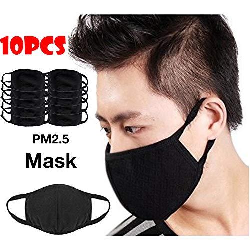 Gaddrt Staubdichte Masken Gesundheit 3 Schichten Radfahren Anti-Staub Baumwolle Mund Gesichtsmaske Atemschutz Männer Frauen (B 10PC)