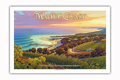 Pacifica Island Art - Weingüter an der Malibu Küste - Hügel von Santa Monica - South Coast AVA - Weinland Kalifornien Kunst von Kerne Erickson - Giclée Kunstdruck 61 x 91 cm -
