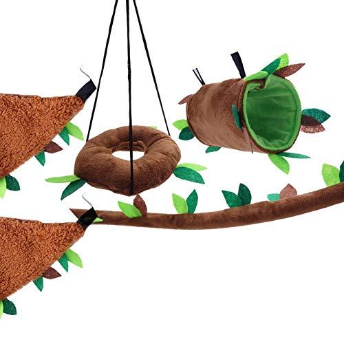 cineman Haustier Hängematte Spielzeug Katzen Hängematte Schaukel Katzenkatze Hängematte 5-teiliger Stammzweig Laubspaßaktivitäten simulieren echtes Klettererlebnis