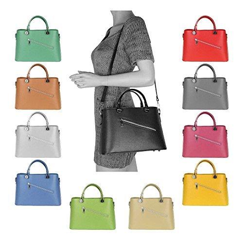 OBC Made in Italy Femmes sac à main en cuir véritable Sac À Bandoulière