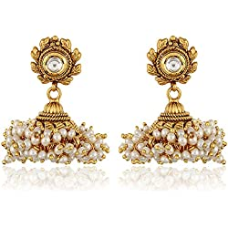 18k Gold Plated Traditional Jewellery Stylish Fancy Party Wear Jhumki / Jhumka Earrings for Girls and Women by Shining Diva
