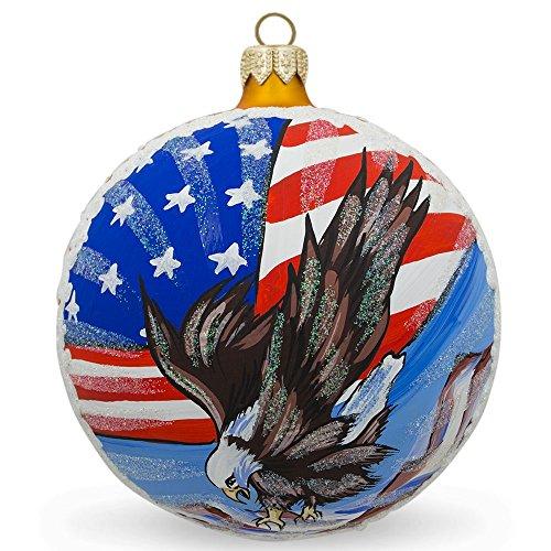 10,2cm American Flag Bald Eagle palla di vetro e di Natale