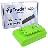 Trade-Shop Premium Li-Ion Akku, 24V / 2000mAh für Greenworks Tools G24 Rasentrimmer Basic 2100107 Deluxe 2100007, Heckenschere 54cm 2200007 57cm 2200107, Teleskop-Heckenschere 51 cm 2200207
