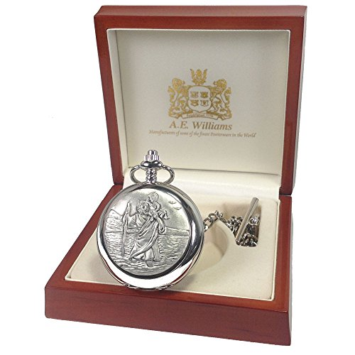 Boys-Baptism-Gift-Engraved-St-Christopher-Mother-of-Pearl-Face-Pocket-Watch-in-a-Wooden-Gift-Box