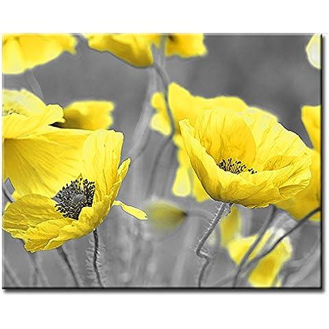Amarillo flores de amapola en campo lienzo estampado Floral. 16