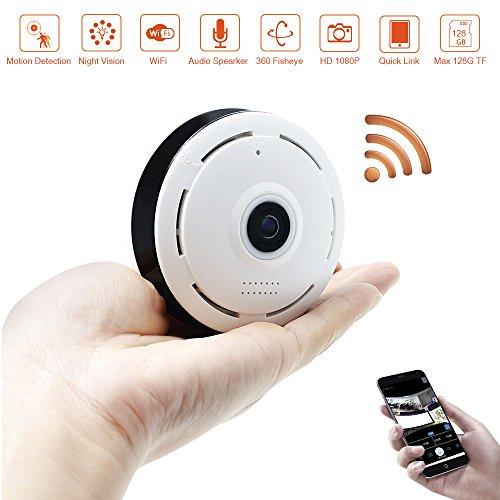 1080P WiFi IP Camera LXMIMI Fisheye 360 Panoramica Wifi Camera 360 Degree Wide Angle 1080P Network Camera con Visione Notturna IR e Rilevazione di Movimento Telecamera Wifi 2.4 GHz