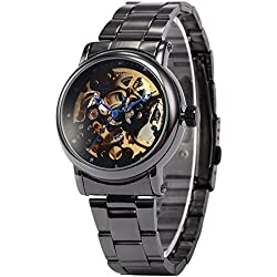 AMPM24 Classic Skeleton Dial Automatic Mechanical Women Analog Steel Dress Wrist Watch + AMPM24 Gift Box PMW130