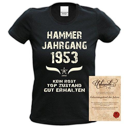 Damen Kurzarm Motiv T-Shirt Girlieshirt :-: Geburtstagsgeschenk Geschenkidee für Frauen zum 64. Geburtstag :-: Hammer Jahrgang 1953 :-: Farbe: schwarz Schwarz