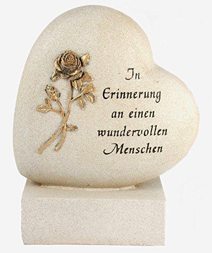 Paul Jansen Herz auf Sockel Rose Grabdekoration, Creme, 18.5 x 14 x 17 cm
