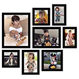 Khatu Crafts Synthetic Photo Frames for Walls Decoration (Set of 8,Black)