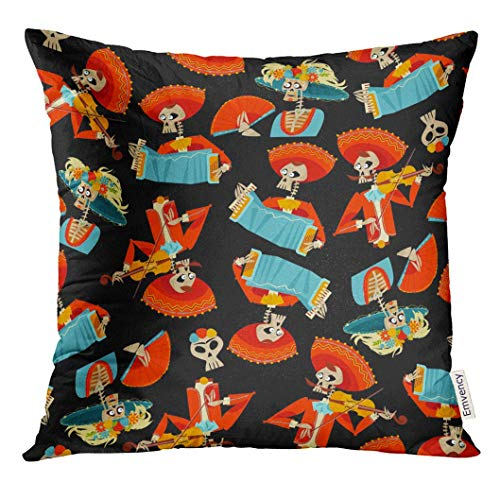 Cupsbags Throw Pillow Cover Skull Dia De Muertos Mariachi Band of Skeletons and La Calavera Catrina Mexican Tradition Accordion All Decorative Pillow Case Home Decor Square 18x18 Inches Pillowcase (De Muertos-traditionen Los Dia)