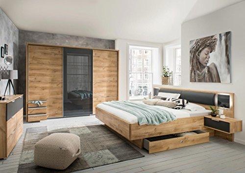 lifestyle4living Schlafzimmer Komplett Set in Eiche-Dekor und grau, 2-teilig | Modernes Komplettset mit Schwebetürenschrank und Bett, inkl. Nachtschränke (Jugend-möbel Schlafzimmer-sets)