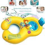 0-18 meses Flotador de natación para bebés, inflable Caja de seguridad suave madre bebé asiento anillo de natación con respaldo, doble piscina de natación de natación persona para niños pequeños