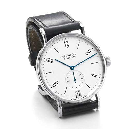 Nomos Glashuette Unisex Tangente 37.5mm Black Leather Band Steel Case Mechanical White Dial Watch 130