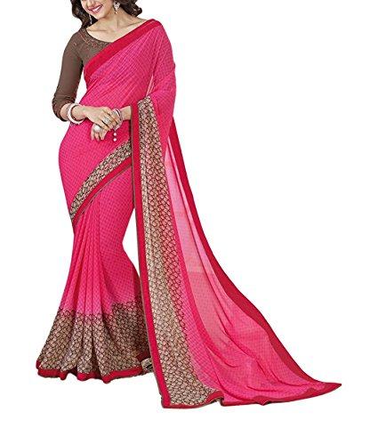 Vaisu Trendz Women's Georgette Saree (A7_Pink)
