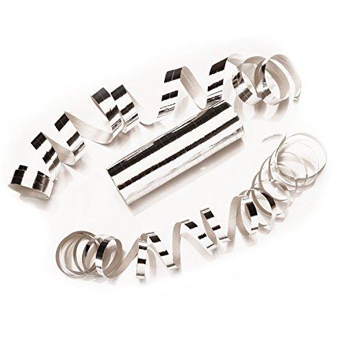 PartyMarty Luftschlangen Silber Metallic im 3er Sparpack - 3 Rollen mit je 18 metallisch glänzenden Luftschlangen - Karneval, Fasching, Hochzeit, Silvester & Co GmbH®