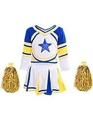 Lolanta Ragazze Costume da Cheerleader Vestiti di Carnevale Kids Cheer Outfit con Calzini Pom Pom Blue Star
