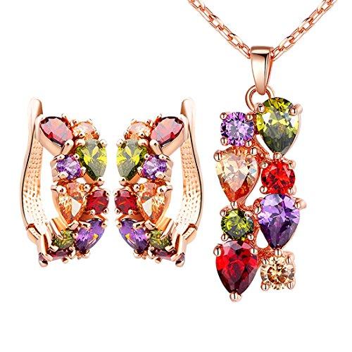 Zirkonia Damen Halskette Schmuck-Sets, Ohrringe Rose vergoldet Tropfenform Kristall Anhänger Halskette 39,9cm mit 6cm Extender Kette Geschenke für Frauen Mädchen Damen