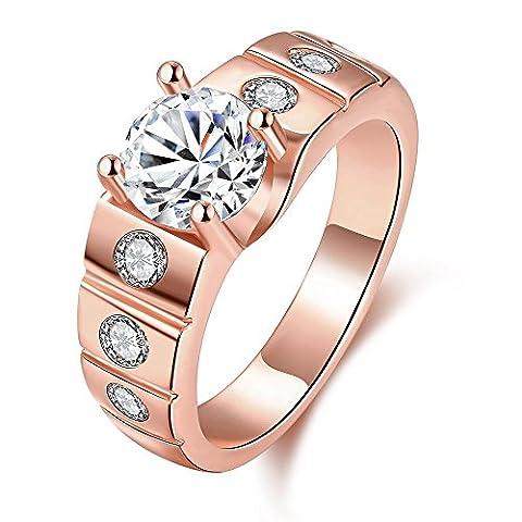 Thumby Élégant Fashion Rings K Or Cz pour Femmes,Rose plaqué or,9