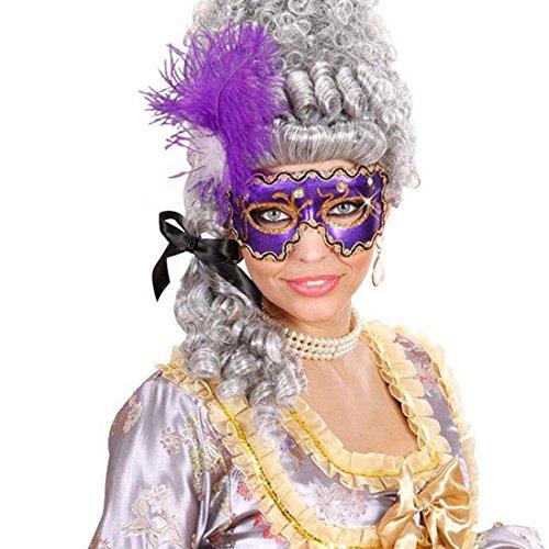 Venezianische Maske lila Edle Federmaske mit Edelsteinen Barock Faschingsmaske Feder Karnevalsmaske Venedig Augenmaske Maskenball Accessoire