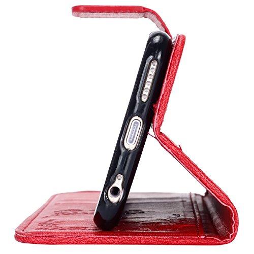 Custodia iPhone 6, ISAKEN Custodia iPhone 6S, iPhone 6 Flip Cover con Strap, Elegante borsa Colorate Albero Design in Sintetica Ecopelle PU Pelle Protettiva Portafoglio Case Cover per Apple iPhone 6 4 Diamante: rossa