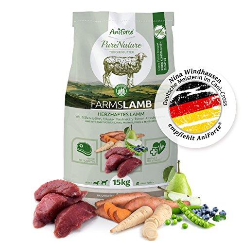 AniForte Natürliches Hunde-Futter Trockenfutter Farms-Lamb 15kg, Herzhaftes Lamm mit Süßkartoffeln, 100% Natur, Allergiker, Getreide-Frei, Glutenfrei, Ohne Chemie, künstliche Zusätze und Vitamine