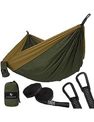 SONGMICS Hamaca Ultra Ligera para Viaje y Camping, 300kg de Capacidad de Carga, 300 x 200 cm, 2 x Mosquetones Premium, 2 x Correas de Nylon Incluidas, 2 Personas GDC20AC