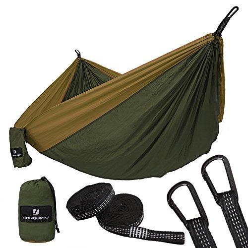 SONGMICS Hängematte, Outdoor Camping, für Mehrpersonen, Liegefläche 300 x 200 cm, ultraleichte Reisehängematte aus Nylon, vom TÜV Rheinland geprüft, GDC20AC (Outdoor-hängematte-schaukel-bett)