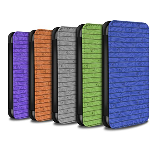Stuff4 Coque/Etui/Housse Cuir PU Case/Cover pour Apple iPhone 7 / Rose Design / Motif Bois Collection Pack