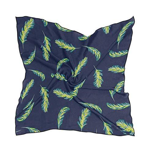 Quadratischer Schal mit Blättern, Marineblau, weich, atmungsaktiv, digital bedruckt, Kopftuch Knit Slouch Hut