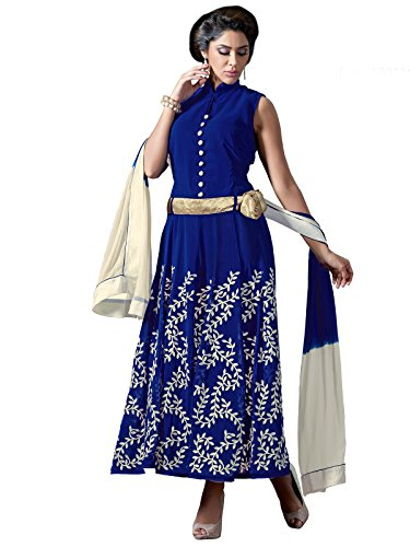 Kanchnar Women's Georgette Semi-Stitched Embroidered Party Wear Wedding Salwar Kameez Suit For...