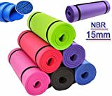 Xn8 15mm NBR Yoga Mat Aerobic Camping Pilates Gym Padded Thick Exercise Mat with Straps (Black)