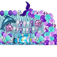 YIISUN Mermaid Party Decorations Kit - Happy Birthday Banner Balloon Backdrop Curtains Mermaid Tail Dolphin Blue Clownfish for Baby Shower and Girls Birthday Party 89 Pcs