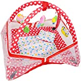 #8: Deals Outlet Baby Kick and Play Gym with Mosquito Net and Baby Bedding Set (Red)