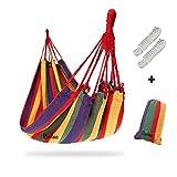 Camping Hammock Canvas Stripe Swinging letto portatile esterna Backpacking Viaggi Giardino Patio Spiaggia Yard Tempo libero Amache ultraleggero con il sacchetto (190*150cm, Rosso)
