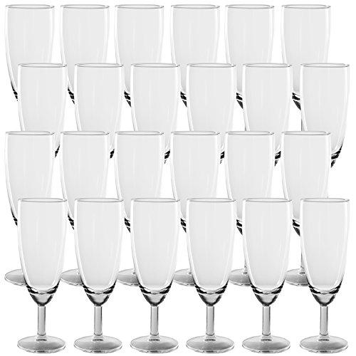 24er Set Sektgläser Champagnergläser aus Glas - gute Qualität - spülmaschinenfest - ohne Füllstrich - max.155ml