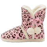 Dunlop, Stiefel-Hausschuhe, flauschig, warm, Pink - pink leopard - Größe: 38/39 EU