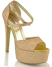 NUOVO donna scarpe Plateau Zeppe Sandali Cinturino Zeppa PeepToes GLITTER