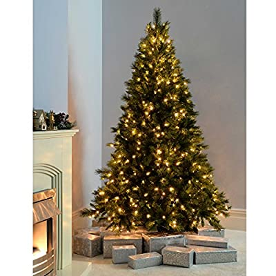 WeRChristmas 5 ft/ 1.5 m Victorian Pine Pre-Lit Multi-Function Christmas Tree with 300 Warm White LED Lights/ 8 Setting Controller/ Easy Build Hinged Branches