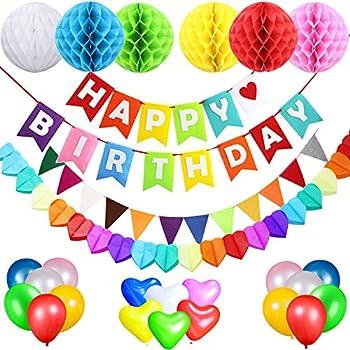 Acetek Décorations Danniversaire De Fête Happy Birthday Banderole 6 Pompons Guirlande 18 Ballons Pour Anniversaire Mariage Douche De