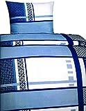 Leonado Vicenti bettwäsche microfaser 135x200 2teilig kariert gestreift blau weiß Streifen karo Garnitur Set Bezug