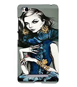 PrintVisa Beautiful Girl Art 3D Hard Polycarbonate Designer Back Case Cover for Xiaomi Redmi Mi4i