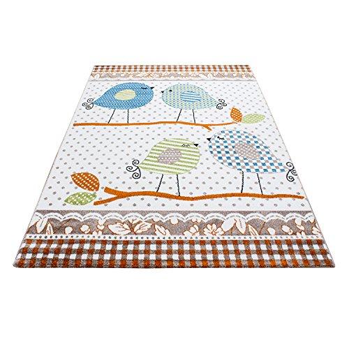 Carpetsale24 Kinder Teppiche für Kinderzimmer, Babyzimmer, Spielteppich süße Vogel Design, Multi Farben Beige Terra Blau Grün Weiss_0520, Maße:80x150 cm -
