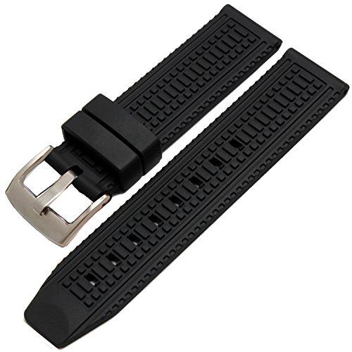 nuovo-da-uomo-in-silicone-nero-cinturini-elastici-in-gomma-impermeabile-24-mm-ss-fibbia