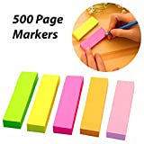 #7: 5 Sets Neon Page Marker Colored Index Tabs Flags, Rainbow Assorted Bright Colors, Fluorescent Sticky Note for Page Marker, 500 Pieces
