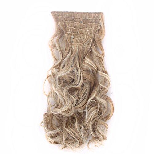 MapofBeauty 60cm/24 Zoll Ein Set von sieben Haarklemmen und Haarteilen Modisch und Stilvoll charmant Lockige Haarteil (Ash Gold gemischt Mit Lignt Gold)