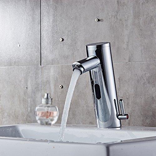 Decdeal Sensor Wasserhahn IR Waschtischarmatur Waschbecken Mischbatterie Heiß und Kalt Wasser Umschalten (Sensor Wasserhahn)