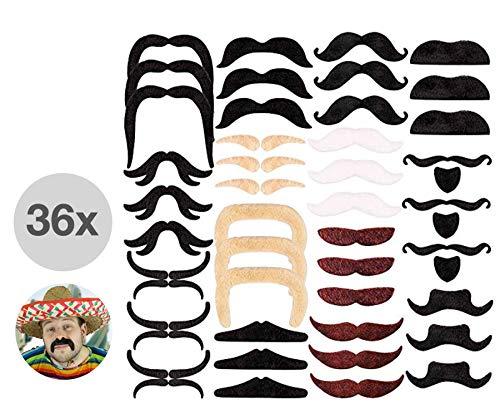 TK Gruppe Timo Klingler 36x selbstklebend Bärte, Bart, Bärteset Schnurrbart Klebebärte aufklebe Fake Moustache Schnauzer zum ankleben / kleben