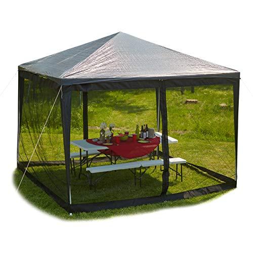 Seitenwand-gitter (Relaxdays Moskitonetz für 3 x 3 m Pavillon, 2 Seitenteile, mit Reißverschluss, Klettband, 12 m XL Mückennetz, schwarz)